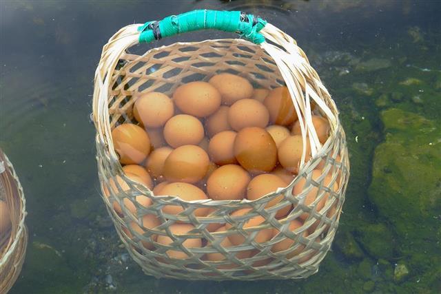 Eggs boiled in hot springs
