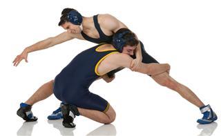 Wrestling match in progress