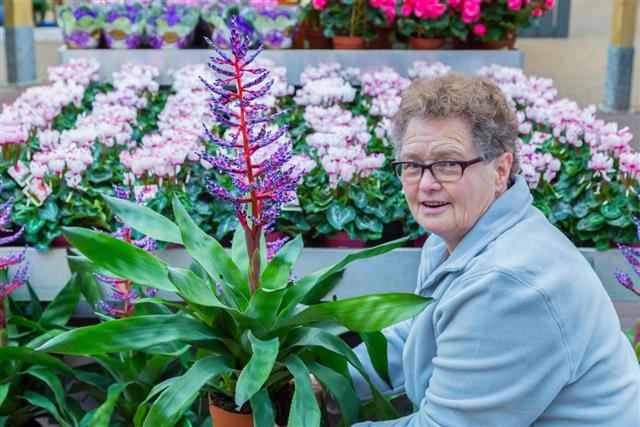 Senior woman showing flowering plant in shop