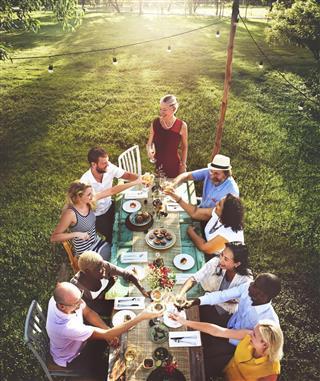 Friends Dining Outdoor Nature Garden