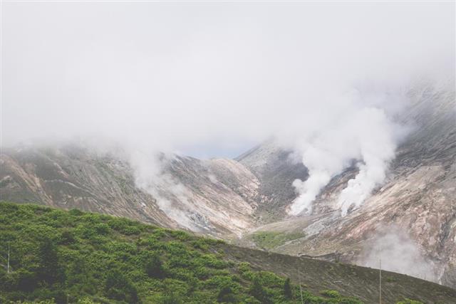 Mount Usu, active volcano in Hokkaido, japan