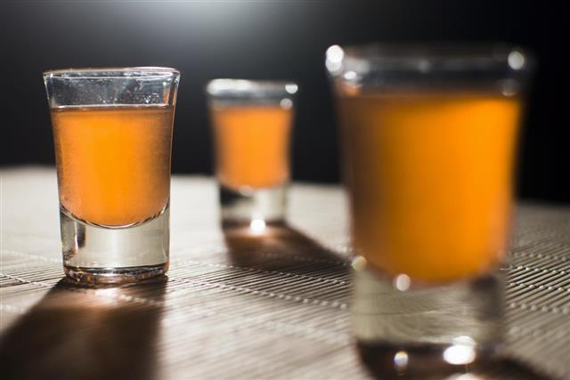 Three glasses for schnapps