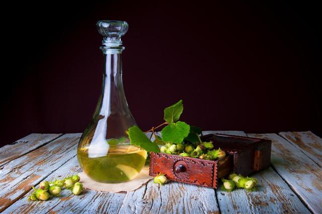 Homemade hazelnut tincture liqueur