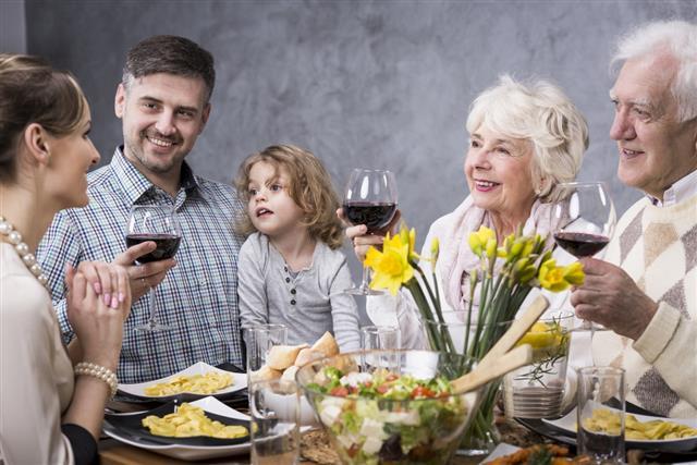 Multigenerational family at a dinner