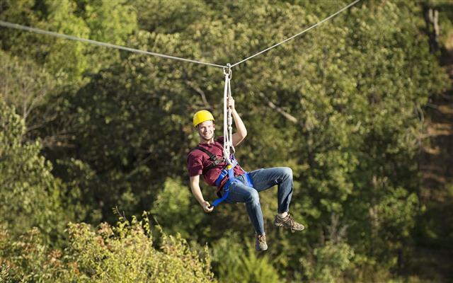 Having Fun Ziplining