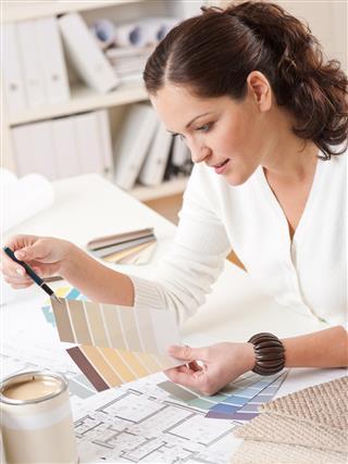 Interior designer woman working
