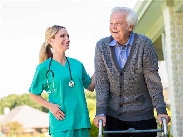 Healthcare nurse with patient