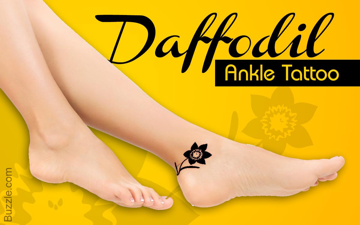 Daffodil ankle tattoo design
