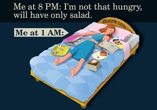 Girl sleeping with junk food