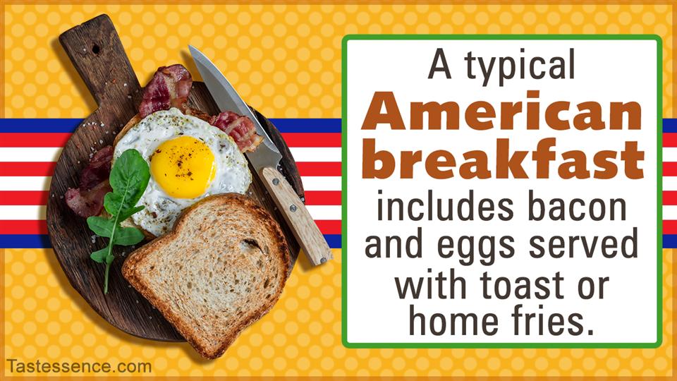 Typical American breakfast of eggs and orange juice
