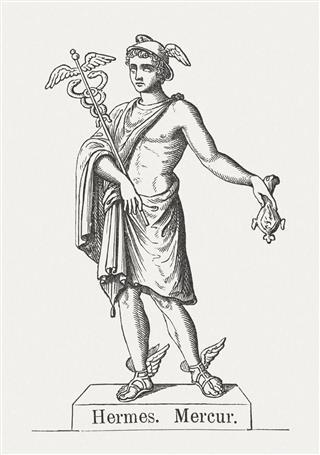 Hermes, Greek god of transitions, wood engraving, published 1878