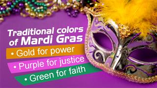 Mardi Gras Background Purple Gold Green Mask Beads