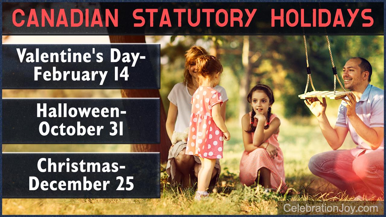 Canadian Statutory Holidays 2018