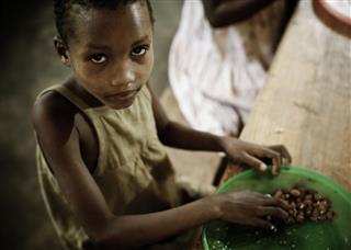 Girl Orphan Eating