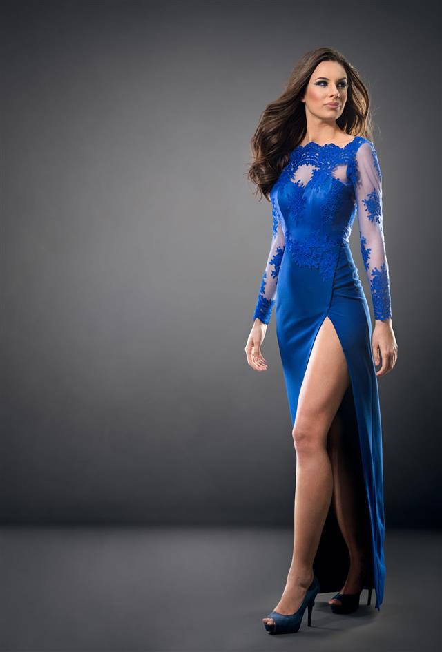 Woman Wearing Elegant Fashion Dress
