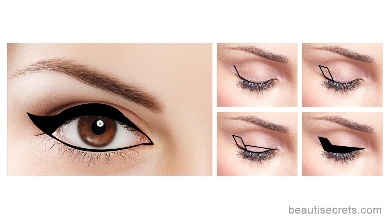 Winged eyeliner for deep set eyes