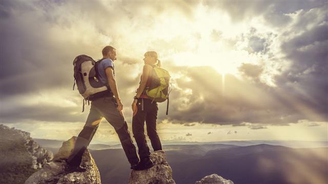 Couple On Top Mountain