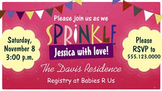 Baby sprinkle invitation card