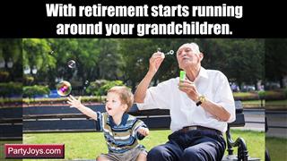Grandparent running after grandchildren post retirement