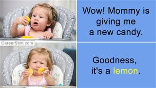 Happy Baby Girl Eating Lemon In High Chair