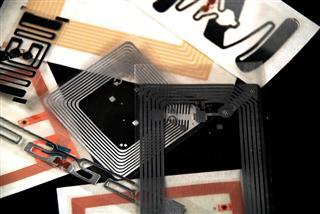 RFID Tags on Black Background