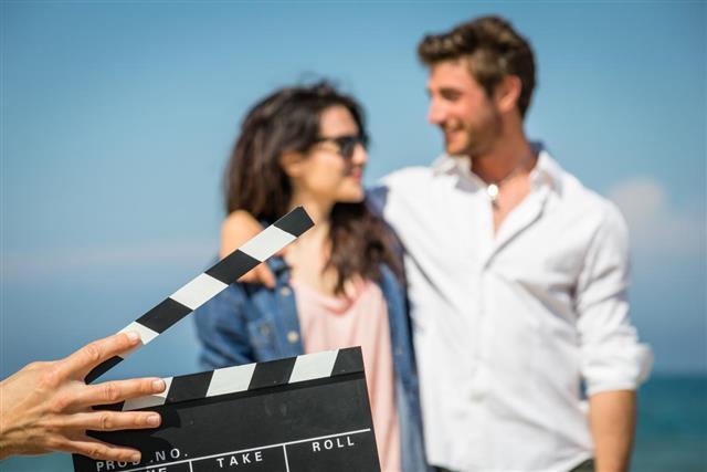 Actors at film shooting