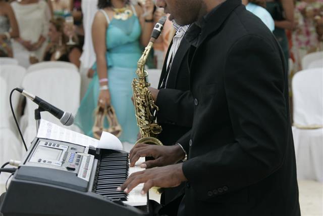 Musician entertaining in wedding