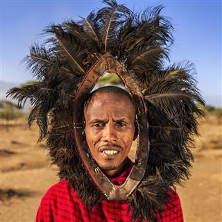Portrait of warrior from Maasai tribe, Kenya, Africa