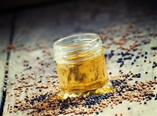 Oil of mustard in a small jar