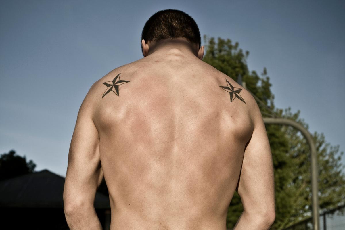 Nautical star tattoos for guys for Birdman 5 star tattoo