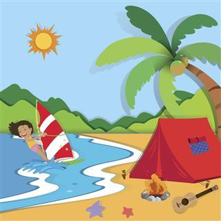 Summer beach camping
