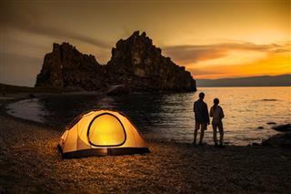 Camping at lake