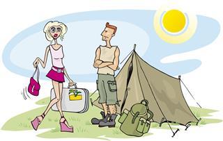 Blonde girl on camp
