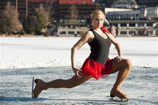 Women Skating On Natural Ice Rink