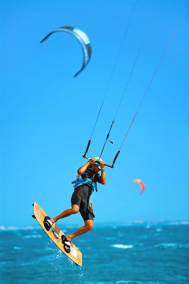 Water Sports Kiteboarding Kitesurfing In Ocean