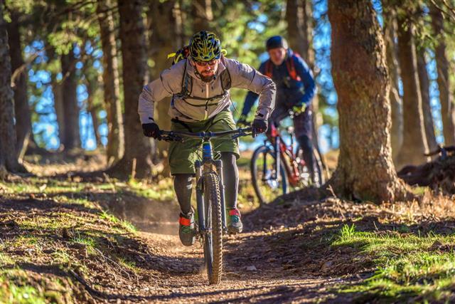 People Enjoying Mountain Biking
