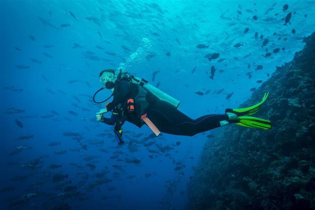 Female Diver Palau Micronesia