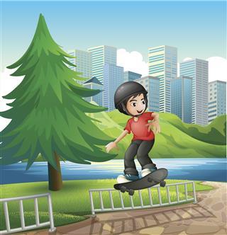 Boy Skateboarding Near The Riverbank