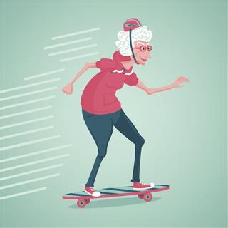Grandma on a skate