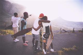 teenage skater friends