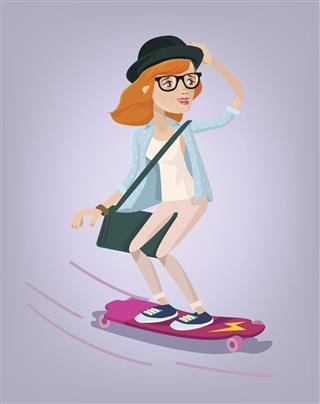 Girl skater on longboard