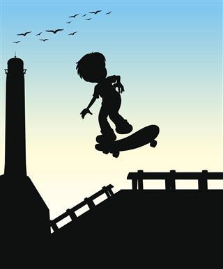 boy skateboarding on street