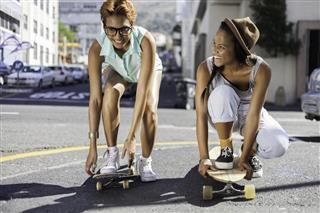 girls skating on their mark