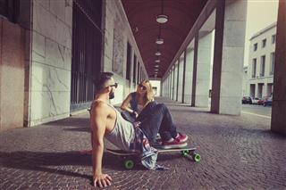 skaters resting