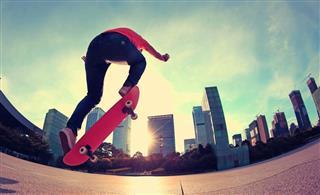 Skateboarding at sunrise