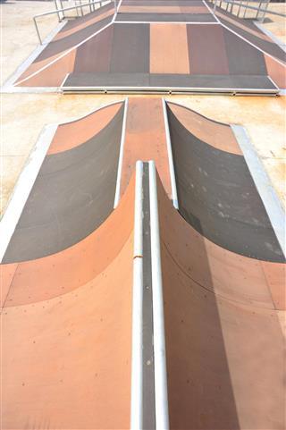 Empty skate park ramps