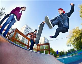 Skateboarder in the skate park