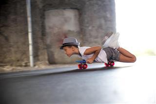 kid balancing on skateboard