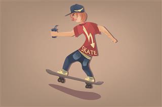Stylish Comic Hipster On Skate