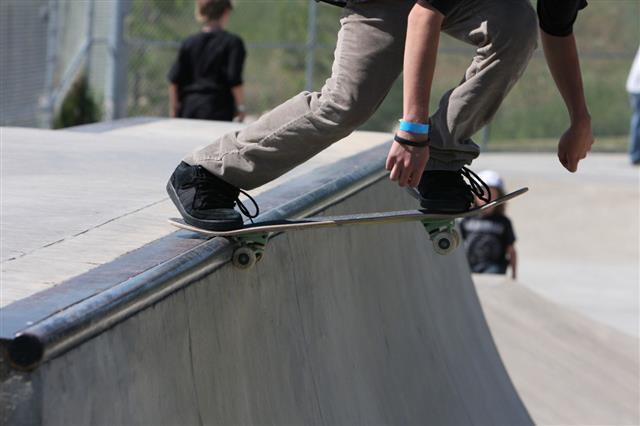 Skateboarding Half Pipe Start
